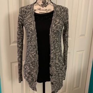 Trendy marled long length cardigan